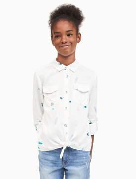 Calvin Klein girls allover print tie-front shirt