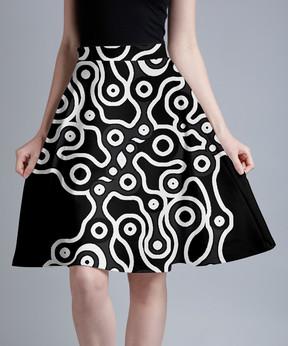 Lily Black & White Geometric A-Line Skirt - Women & Plus