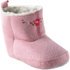 Luvable Friends Pink Embroidered Suede & Fleece Booties - Girls