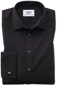 Charles Tyrwhitt Classic Fit Non-Iron Poplin Black Cotton Dress Shirt Single Cuff Size 15/34