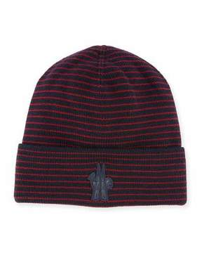 Moncler Striped Wool Logo Beanie Hat