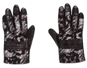 Chanel Logo Tweed Gloves