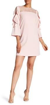 Tahari Ruffled Scuba Crepe Dress