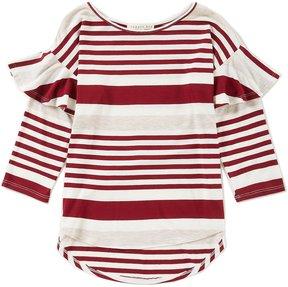 Copper Key Little Girls 4-6X Striped Ruffle-Sleeve Top