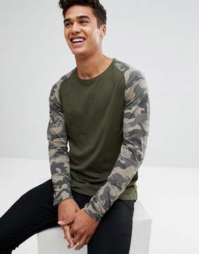 ONLY & SONS Long Sleeve T-Shirt With Camo Sleeves
