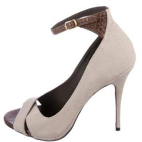 Elizabeth and James Canvas Ankle Strap Pumps
