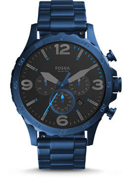 Fossil Nate 50mm Chronograph Blue Stainless Steel Watch