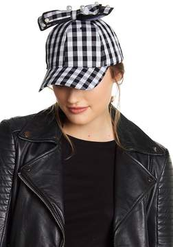 Betsey Johnson Imitation Pearl Detail Plaid Bow Baseball Cap