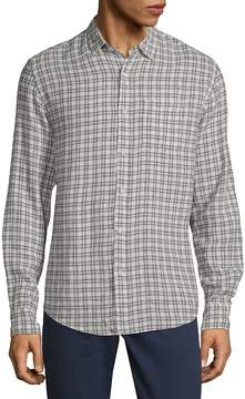 Saks Fifth Avenue BLACK Men's Plaid Long-Sleeve Button-Down Shirt
