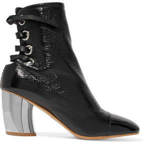 Proenza Schouler Lace-up Glossed Textured-leather Ankle Boots - Black