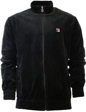 Fila Men's Solid Velour Black Zip Up Track Jacket