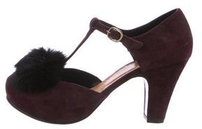 Chie Mihara Rabbit-Trimmed Mary Jane Pumps
