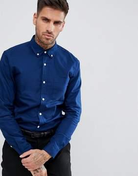 Pull&Bear Regular Fit Oxford Shirt In Navy