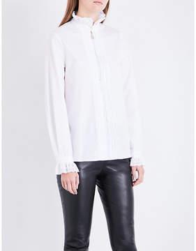 Claudie Pierlot Frilled-collar cotton-poplin shirt