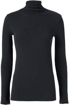 Enza Costa Black Split Sleeve Turtleneck