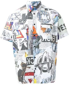Kokon To Zai 'Newspaper' print shirt