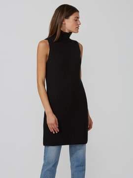 Frank and Oak Sleveless Mockneck Sweater-Dress in True Black