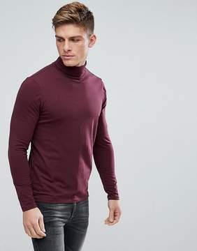 New Look Roll Neck Sweater In Dark Burgundy
