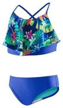 Speedo Girl's Two-Piece Tropical Print Ruffle Swimsuit