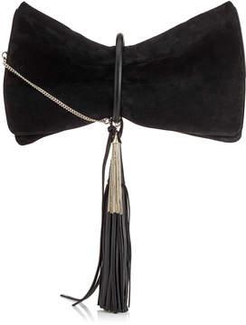 Jimmy Choo CHARLEY/L Black Suede Clutch Bag with Leather Bracelet