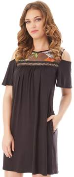 Apt. 9 Women's Cold-Shoulder Embroidered Swing Dress