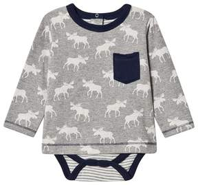 Hatley Grey Moose Print Tee Body