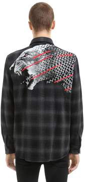Marcelo Burlon County of Milan Sham Printed Cotton & Wool Flannel Shirt