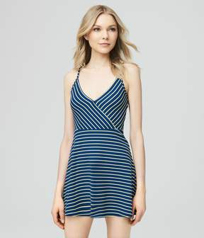 Aeropostale Stripe Textured Wrap Dress