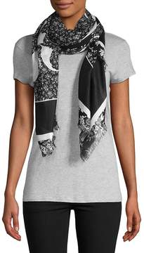 McQ Women's Fray-Trimmed Graphic Scarf