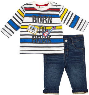 Petit Lem Born To Rock Striped Two-Piece Set, White, Size 3-24 Months