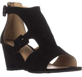 Esprit Angel Wedge Buckle Sandals, Black.