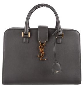 Saint Laurent Monogramme Leather Satchel - GREY - STYLE
