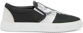 Marcelo Burlon County of Milan Black and White Aish Slip-On Sneakers