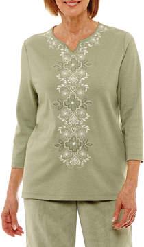 Alfred Dunner Winter Garden 3/4 Sleeve Split Crew Neck T-Shirt-Womens