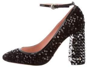 Rochas Sequin Ankle Strap Pumps