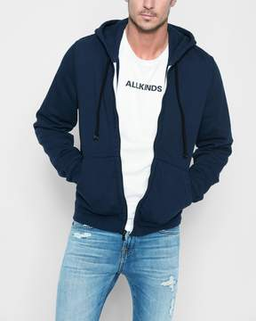 7 For All Mankind Zip Through Hoodie in Vintage Blue