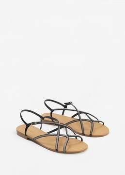 MANGO Strap rhinestone sandals