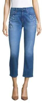 7 For All Mankind Jen7 by Embellished Straight Crop Jeans