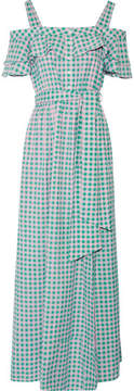 Draper James Dolly Cold-shoulder Gingham Cotton And Silk-blend Maxi Dress - Green