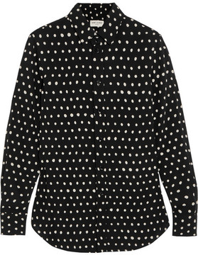 Saint Laurent - Polka-dot Crepe De Chine Shirt - Black