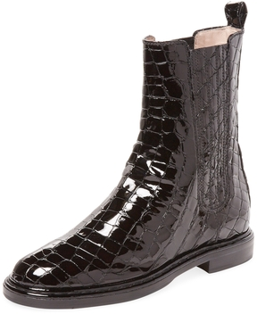 Aperlaï Women's Denise Croc Embossed Patent Leather Boot
