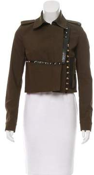 Anthony Vaccarello Leather-Trimmed Embellished Jacket w/ Tags