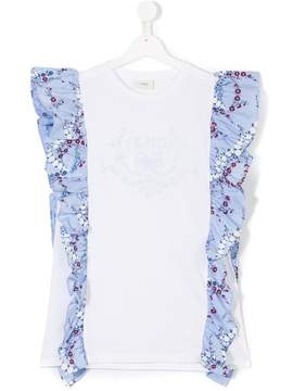 Fendi TEEN embellished frill T-shirt