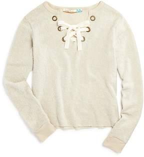 Vintage Havana Girls' Fuzzy Lace-Up Sweater - Big Kid