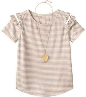 Self Esteem Girls Plus Size Patterned Cold Shoulder Top with Necklace