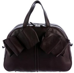 Saint Laurent Leather Obi Bow Bag - BURGUNDY - STYLE