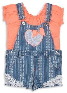 Little Lass Little Girl's Two-Piece Flutter Shortall Set
