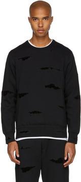 Alexander McQueen Black Shredded Crewneck Sweatshirt