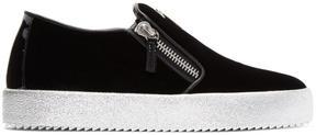 Giuseppe Zanotti Black Velvet May London Slip-On Sneakers