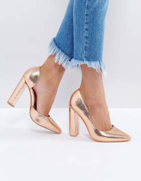 Public Desire Rose Gold Block Heel Pumps